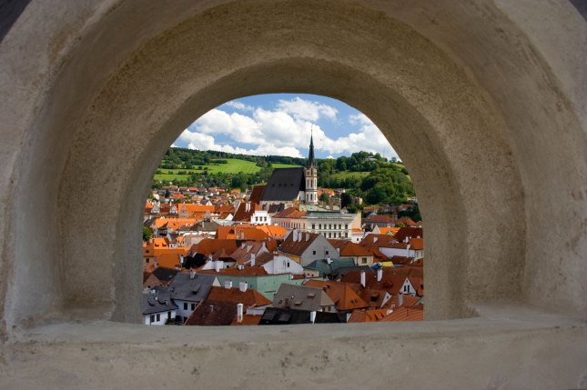 A view on Cesky Krumlov town from the castle