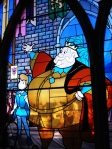 Beautiful stained glass windows in Sleeping Beauty's castle